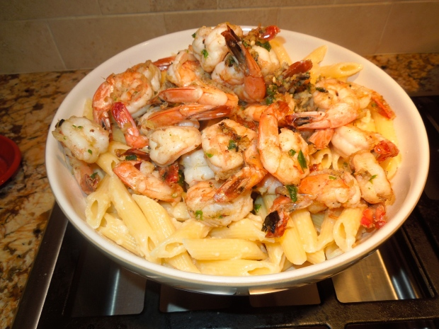 CLASSIC DRY-FRIED PEPPER AND SALT SHRIMP WITH PENNE